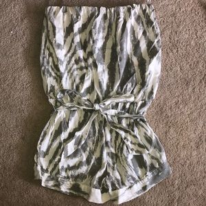 Cinched, strapless romper